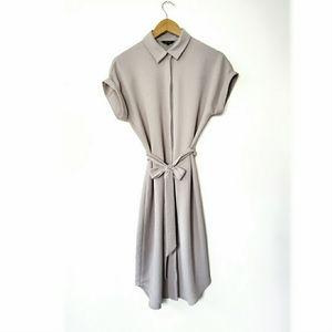 RW&CO Grey Midi Shirtdress with Tie | Size Small